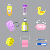 Cosmetic bottle shampoos hygiene clean container lotion bath hair cream vector. Royalty Free Stock Images