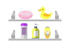 Cosmetic bottle shampoos hygiene clean container lotion bath hair cream vector. Royalty Free Stock Photos