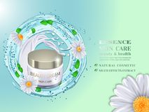 Milk and chamomile extract. Cosmetic bottle and splash blue water with green leaves and Daisy flowers.Advertising cosmetic cream with herbal extract.Design Stock Photography
