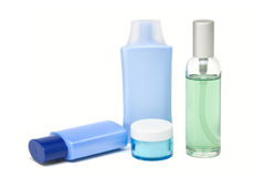 Cosmetic bottles. Isolated on a white background Royalty Free Stock Photos