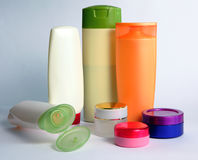 Cosmetic bottles. Bottles with cosmetics and creams stock images