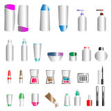 Cosmetic bottles and makeup Stock Images