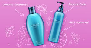 Cosmetic bottles mockup, shampoo and conditioner. Beauty cosmetics product for hair care on pink background with hand drawn doodle flowers, tubes package design stock illustration