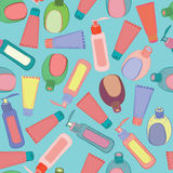 Cosmetic bottles pattern Royalty Free Stock Photography
