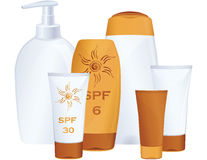 Cosmetic bottles, sun protection Stock Photos