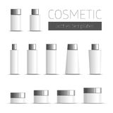 Cosmetic bottles templates. Realistic Tubes And Package. Packing White Cosmetics Or Medicines  On White Background. Template package in the form of bottles Royalty Free Stock Photography