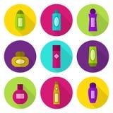 Cosmetic bottles vector icon set Stock Photos