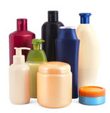 Cosmetic bottles on white Stock Photography