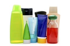 Cosmetic bottles on white background Royalty Free Stock Images
