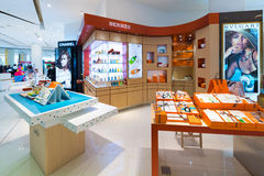 Cosmetic boutiques selling perfumes in Siam Paragon mall,  Bangk Royalty Free Stock Images