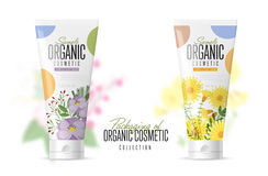 Cosmetic brand template. Realistic bottle set. Stock Image