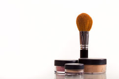 Cosmetic brush. And containers isolated on a white background Stock Photo