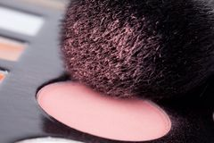 Cosmetic brush. And powder close up Royalty Free Stock Image