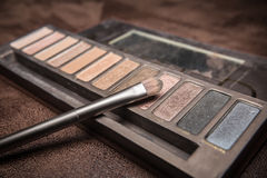 Cosmetic brush with colorful shade powder.  Stock Image