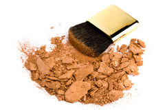 Cosmetic brush and powder. On white background Royalty Free Stock Images