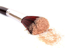 Cosmetic brush and powder isolated. On white Royalty Free Stock Photo