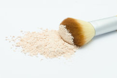 Cosmetic brush and powder. Isolated on white Royalty Free Stock Photos