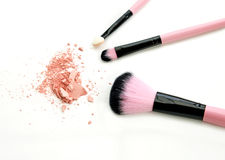 Cosmetic brush and powder isolated on white. Cosmetic brush and powder isolated on white Royalty Free Stock Photos