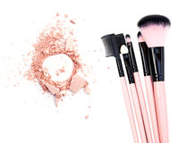 Cosmetic brush and powder isolated on white. Cosmetic brush and powder isolated on white Stock Photo