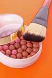 Cosmetic brush and rouge stock photos