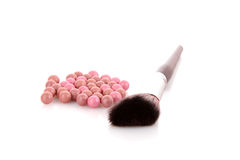 Cosmetic brush and rouge Royalty Free Stock Photo