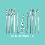 Cosmetic brush and scissors Stock Photo