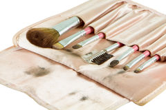 Cosmetic brushes. Dirty cosmetic brushes isolate on a white background royalty free stock images
