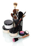 Cosmetic brushes for  make-up jars  creams, eye shadow, blusher. Stock Photos