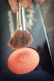 Cosmetic brushes for makeup Royalty Free Stock Images