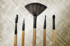 Cosmetic brushes for makeup. High angle view of various cosmetic brushes for makeup on the table, beauty concept Royalty Free Stock Images