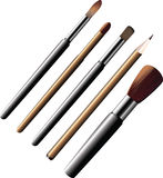 Cosmetic brushes and pencils. Royalty Free Stock Images