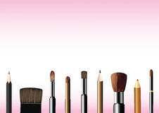 Cosmetic brushes and pencils Royalty Free Stock Photography