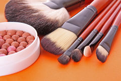 Cosmetic brushes and rouge royalty free stock photos