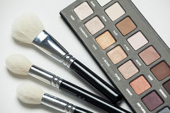 Cosmetic brushes and shadows Stock Images