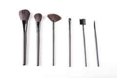 Cosmetic brushes on white background. Makeup and cosmetics on white background royalty free stock photo