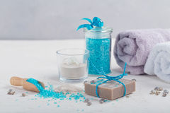 Cosmetic clay powder, homemade clay soap and blue sea salt on wh Royalty Free Stock Photography