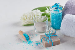 Cosmetic clay powder, homemade clay soap and blue sea salt on wh Stock Photography