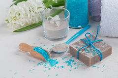 Cosmetic clay powder, homemade clay soap and blue sea salt on wh Royalty Free Stock Images
