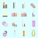 Cosmetic color icons on light background Stock Image
