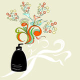 Cosmetic container. With floral ornament Stock Photo