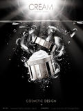 Cosmetic cream ad. Cosmetic cream contained in silver jar with bubbles, clear water background 3d illustration vector illustration