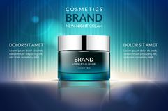 Cosmetic cream ads. Green glossy container, on a modern blue background, 3d illustration royalty free illustration