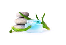 Cosmetic cream and aloe vera. Isolated on white background Royalty Free Stock Photos