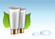 Cosmetic Cream Bottle. With green Sprouts and Dew Drops on blue background. Illustration Royalty Free Stock Photo