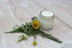 Cosmetic cream with chamomile flowers royalty free stock photos