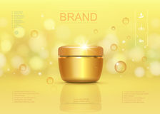 Cosmetic cream container template, with sparkling background and golden drops elements. Stock Photo