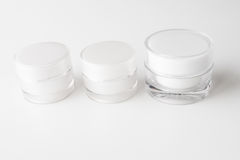 Cosmetic cream containers. Royalty Free Stock Photo