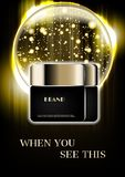 Cosmetic cream with faded lights and bubble with gold dust on da stock photos