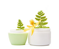 Cosmetic cream with flower. Composition of cosmetic products with flower on white background Royalty Free Stock Image