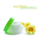 Cosmetic cream with flowers Royalty Free Stock Photos